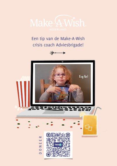 Make-A-Wish isolatie tip kijk een film met laptop roze 2