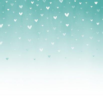 Menükarte Taufe blau zuckersüße Herzen & Foto innen Rückseite
