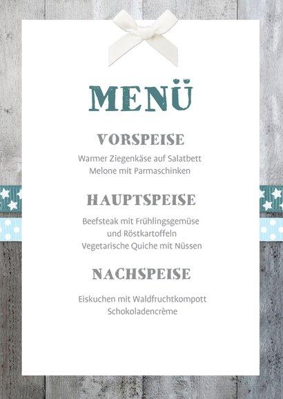 Menükarte Taufe blaue Bänder Holzherz & Foto innen 3