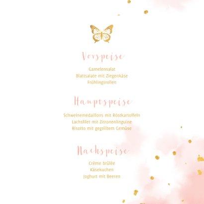 Menükarte Taufe goldener Schmetterling 3
