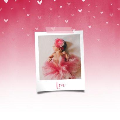 Menükarte Taufe pink zuckersüße Herzen & Foto innen 2