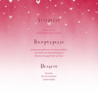 Menükarte Taufe pink zuckersüße Herzen & Foto innen 3