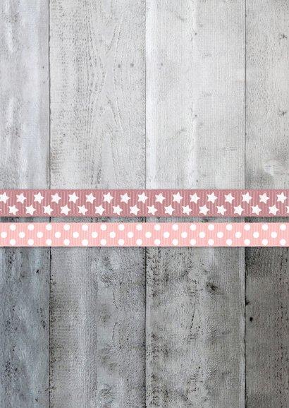 Menükarte Taufe rosa Bänder Holzherz & Foto innen Rückseite
