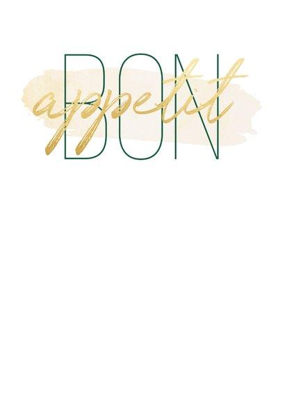 Menükarte zur Hochzeit 'Bon appetit' im Goldlook mit Herzen 2