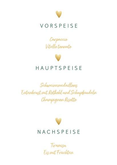 Menükarte zur Hochzeit 'Bon appetit' im Goldlook mit Herzen 3