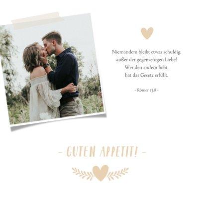 Menükarte zur Hochzeit mit Herzen und Foto 2