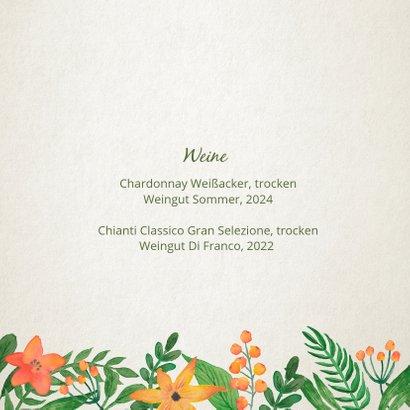 Menükarte zur Hochzeit Vintage Blumen 2