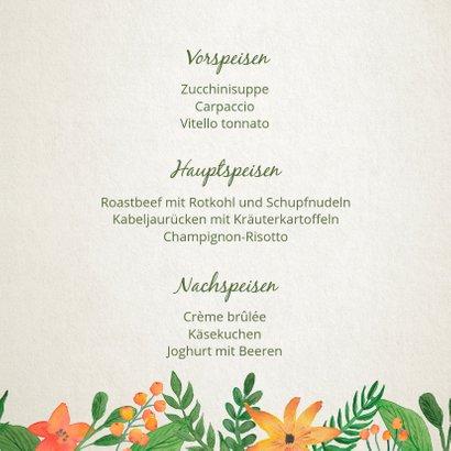Menükarte zur Hochzeit Vintage Blumen 3