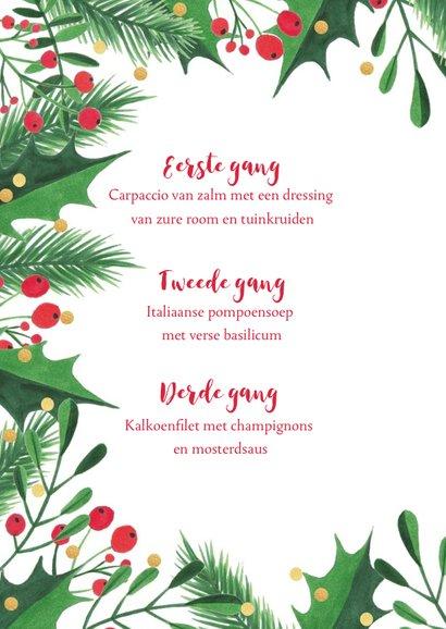 Menukaart kerstdiner kersttakken, hulst en confetti 2