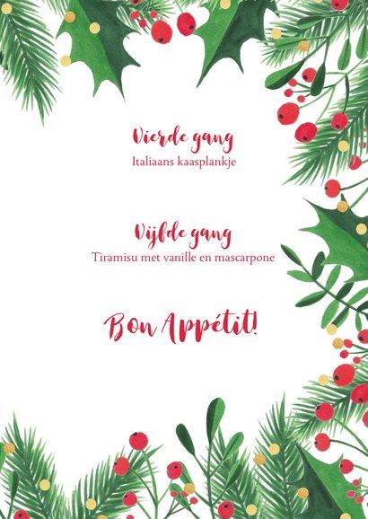 Menukaart kerstdiner kersttakken, hulst en confetti 3