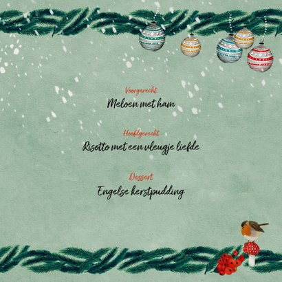 Menukaart met kersttakjes 3