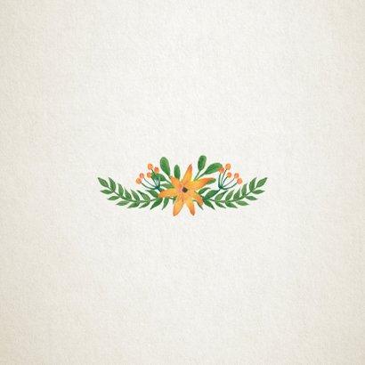 Menukaart trouwen met botanische bloemen Achterkant