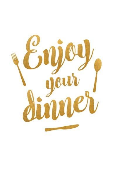 Menukaart trouwen met gouden letters - enjoy your dinner! 2