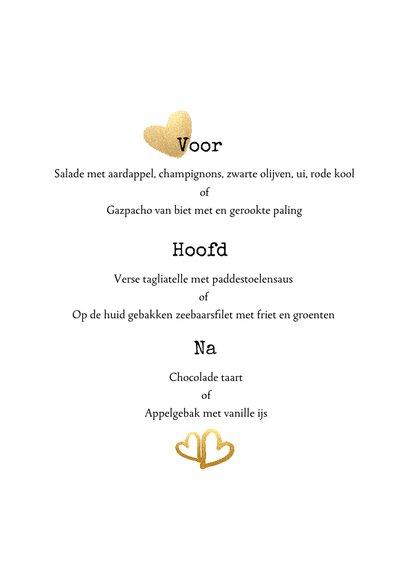 Menukaart trouwen met gouden letters - enjoy your dinner! 3