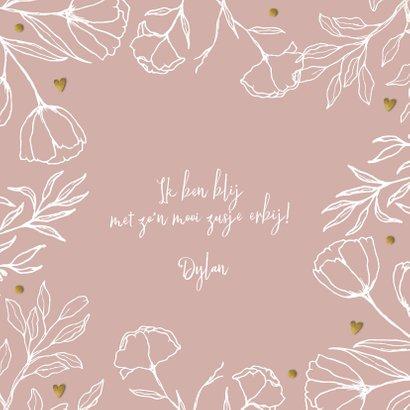 Minimalistisch geboortekaartje bloem meisje rose  2