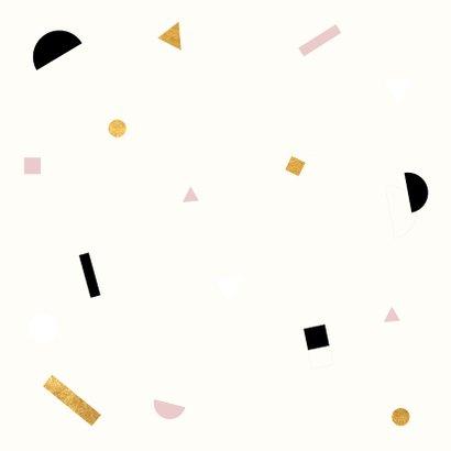 Minimalistisch geboortekaartje met gekleurde confetti Achterkant