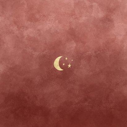 Minimalistisch geboortekaartje roze sterren en maantje Achterkant