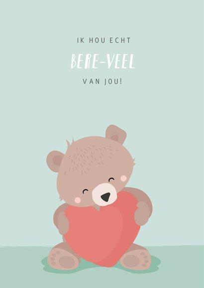 Mintgroene valentijnskaart illustratie van beertje met hart 2