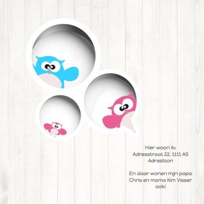 Mo Card Geboortekaart lief meisje uil houtachtergrond 2