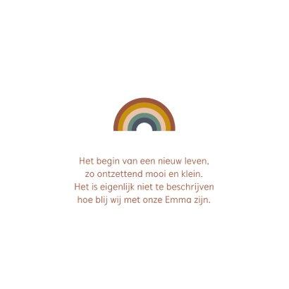 Modern geboortekaartje meisje met regenboog 2