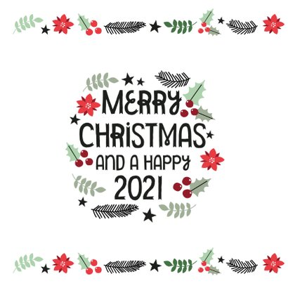 Modern kerstkaart merry christmas & hulst blaadjes 2