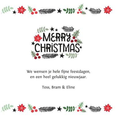 Modern kerstkaart merry christmas & hulst blaadjes 3