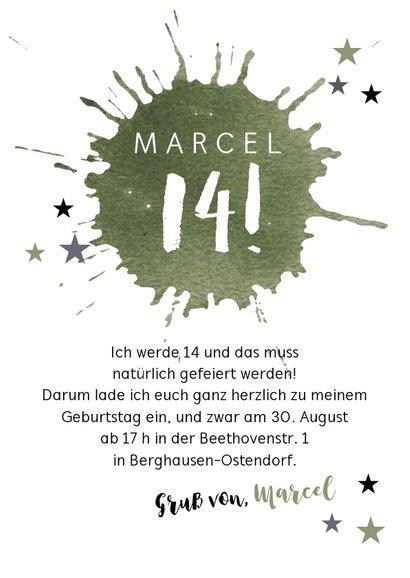 Moderne Einladung zum 14. Geburtstag mit Farbfleck 3