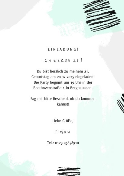 Moderne Einladung zum 21. Geburtstag Farbstreifen pastell 3