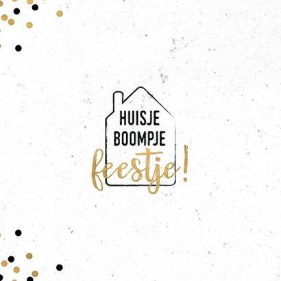 Moderne felicitatiekaart Huisje Boompje Feestje! 2