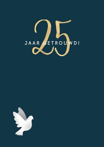 Moderne felicitatiekaart jubileum '25' met duiven & spetters 2