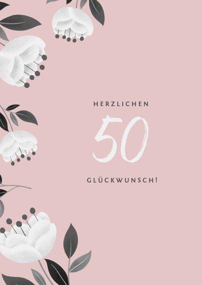 Moderne Glückwunschkarte mit weißen Blumen 2