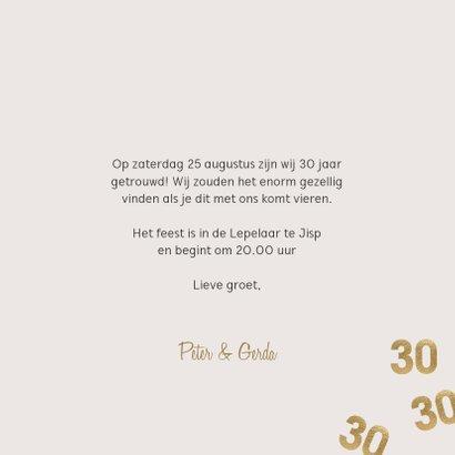 Moderne huwelijk jubileum uitnodiging 30 jaar confetti 3
