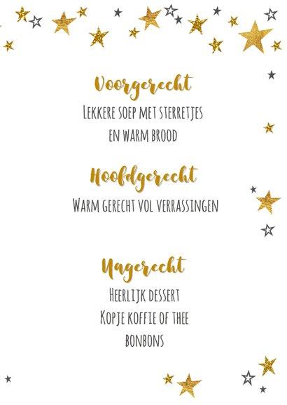 Moderne kerst menukaart goud bestek en sterren 3