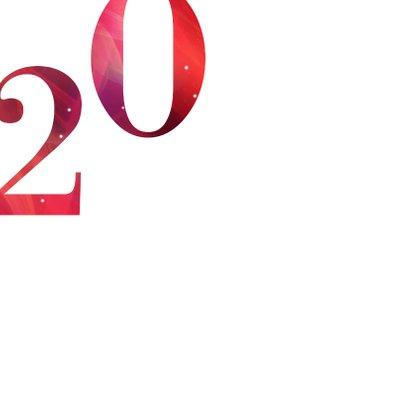 Moderne kerstkaart 2020 in rood met goud 2