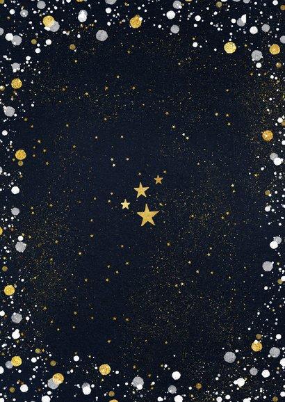 Moderne kerstkaart met foto, gouden confetti en sterren Achterkant
