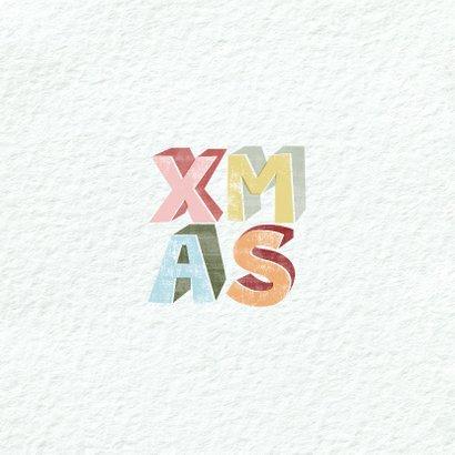 Moderne kerstkaart met geïllustreerde tekst xmas 2
