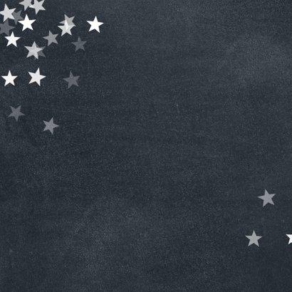 Moderne kerstkaart sterren krijtbord Achterkant
