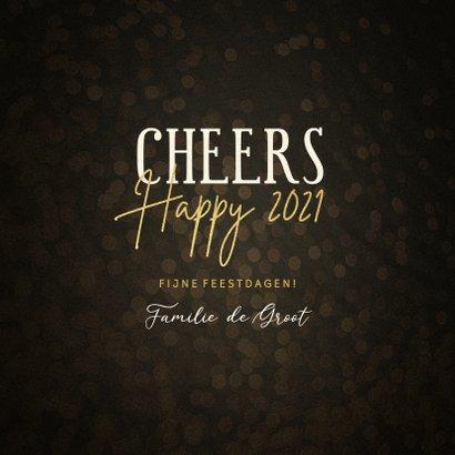 Moderne nieuwjaarskaart met woorden in goudlook 3