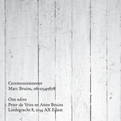 Moderne trouwkaart met hout design 2