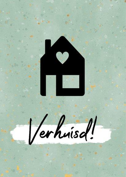 Moderne verhuiskaart met zwart huisje, spikkels & 'verhuisd' 2