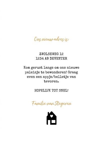 Moderne verhuiskaart met zwart huisje, spikkels & 'verhuisd' 3
