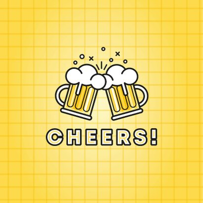 Moderne verjaardagskaart bierpullen en cheers! 2