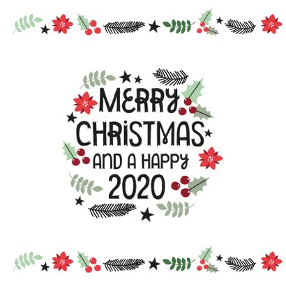 Moderne Weihnachtskarte 'Merry Christmas and a Happy 2020' 2