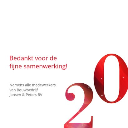 Moderne zakelijke kerstkaart 2020 in rood met goud 3
