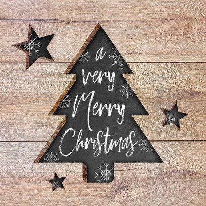Moderne zakelijke kerstkaart hout, kerstboom, tekst & sneeuw 2