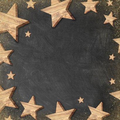 Moderne zakelijke kerstkaart houten sterren Merry Christmas Achterkant