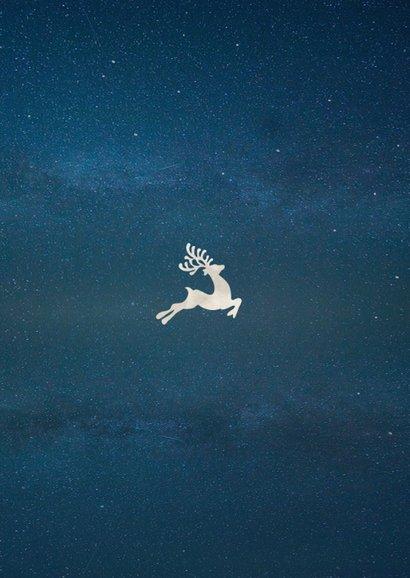 Moderne zakelijke kerstkaart silhouet van kerstman in maan Achterkant