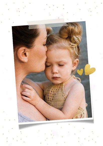 Moederdag fotocollage met 3 eigen foto's en gouden hartjes 2