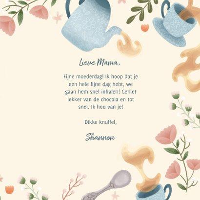 Moederdag kaart liefste mama thee, bloemen en takjes 3