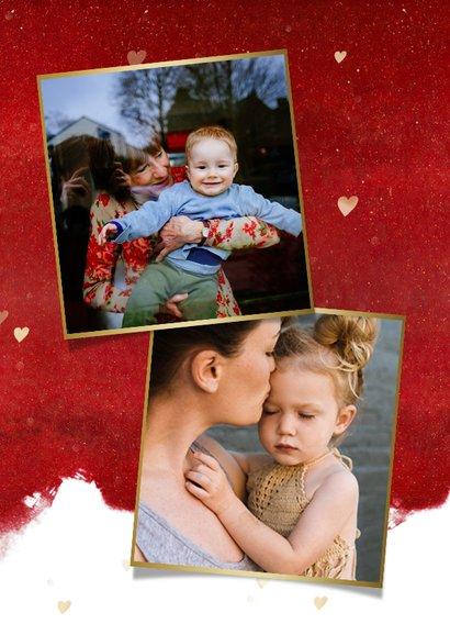 Moederdag kaart met gouden hart met papieren knuffel 2